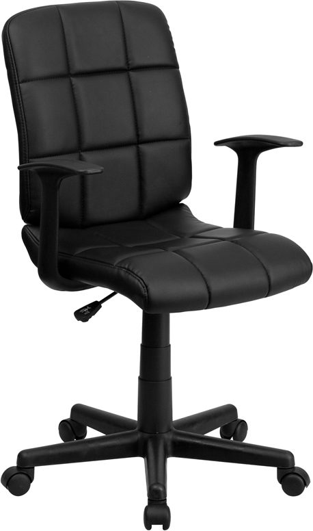 Ergonomic Home Mid-Back Black Quilted Vinyl Swivel Task Chair with Nylon Arms GO-1691-1-BK-A-GG <b><font color=green>50% Off Read More Below...</font></b>