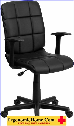 Ergonomic Home Mid-Back Black Quilted Vinyl Swivel Task Chair with Nylon Arms EH-GO-1691-1-BK-A-GG <b><font color=green>50% Off Read More Below...</font></b></font></b>