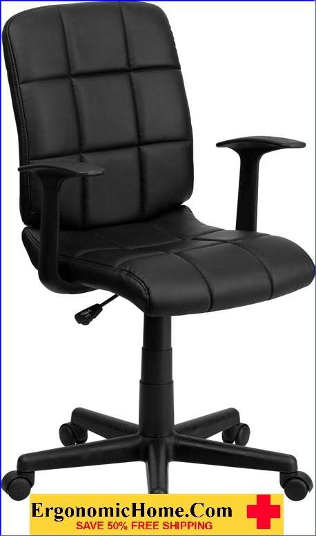 </b></font>Ergonomic Home Mid-Back Black Quilted Vinyl Swivel Task Chair with Nylon Arms EH-GO-1691-1-BK-A-GG <b></font>. </b></font></b>