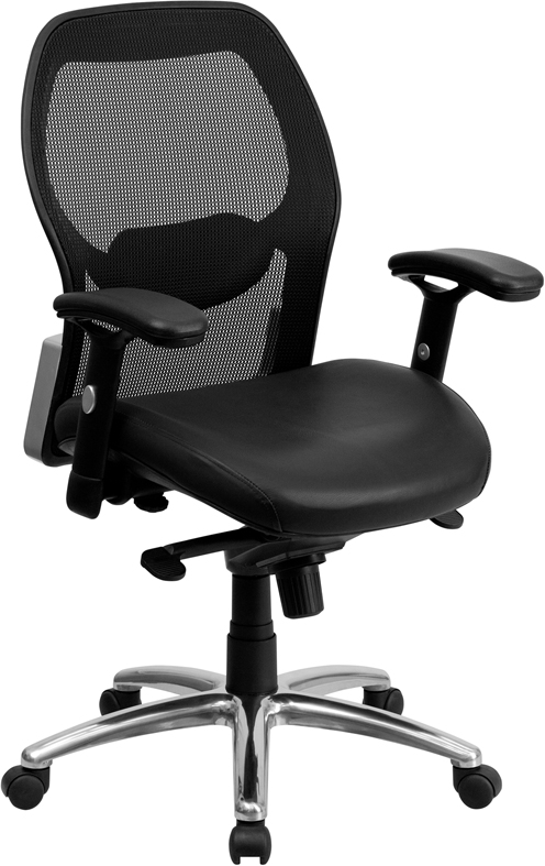Mid-Back Black Super Mesh Executive Swivel Office Chair with Leather Padded Seat and Knee Tilt Control