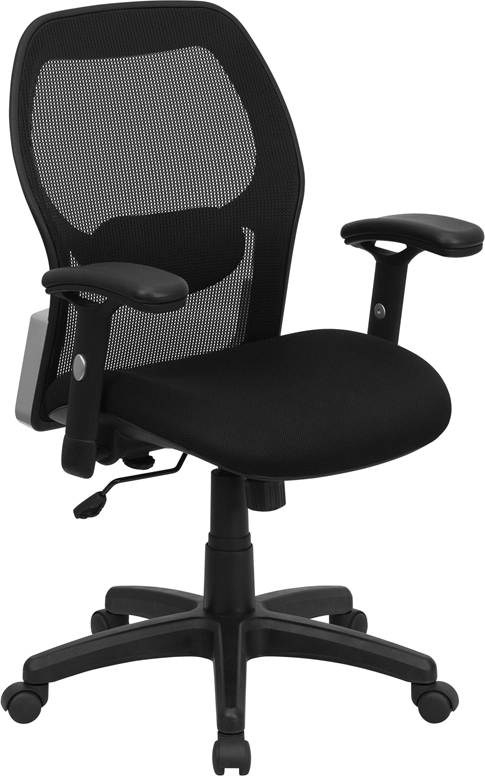 Mid-Back Black Super Mesh Executive Swivel Office Chair with Mesh Padded Seat