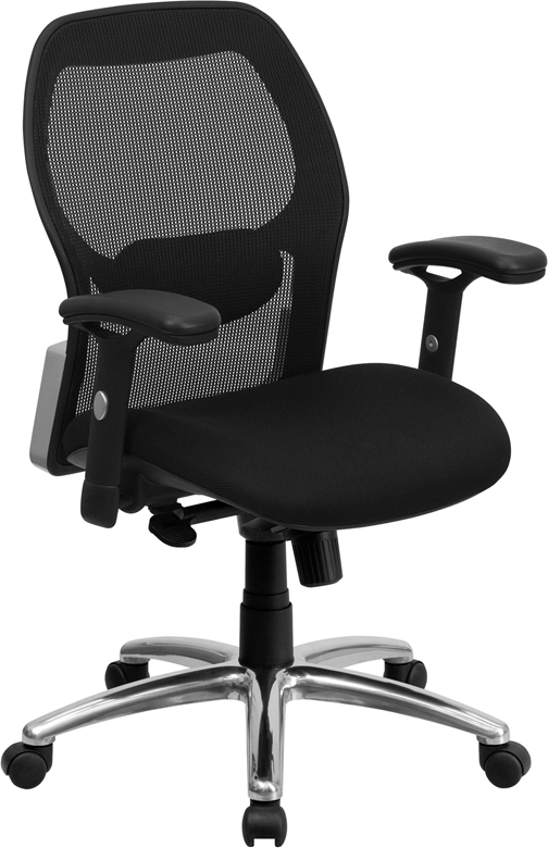 Mid-Back Black Super Mesh Executive Swivel Office Chair with Mesh Padded Seat and Knee Tilt Control