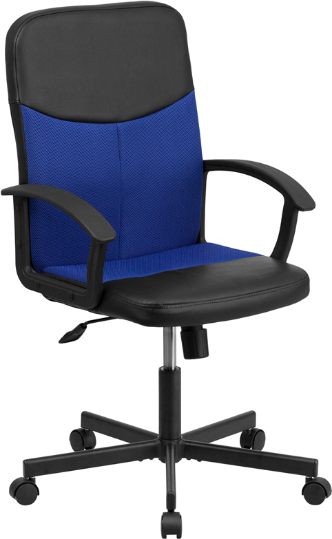 Mid-Back Black Vinyl and Blue Mesh Racing Executive Swivel Office Chair