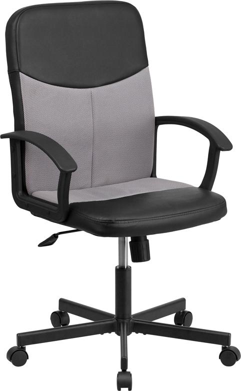 Mid-Back Black Vinyl and Light Gray Mesh Racing Executive Swivel Office Chair