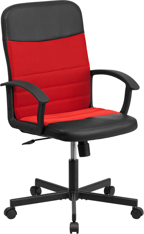 Mid-Back Black Vinyl and Red Mesh Racing Executive Swivel Office Chair