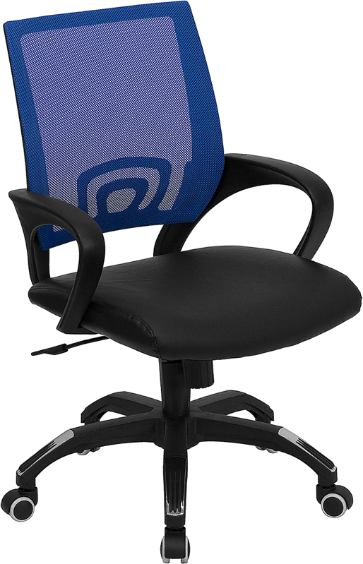 ERGONOMIC HOME Mid-Back Blue Mesh Swivel Task Chair with Black Leather Padded Seat EH-CP-B176A01-BLUE-GG <b><font color=green>50% Off Read More Below...</font></b>