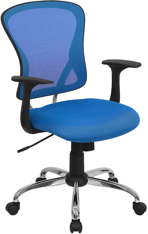 Mid-Back Blue Mesh Swivel Task Chair with Chrome Base