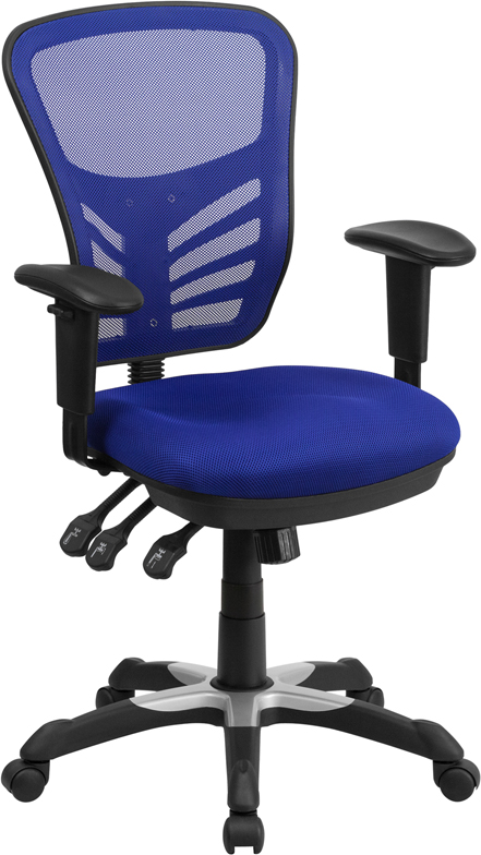Ergonomic Home Mid-Back Blue Mesh Swivel Task Chair with Triple Paddle Control EH-HL-0001-BL-GG <b><font color=green>50% Off Read More Below...</font></b>