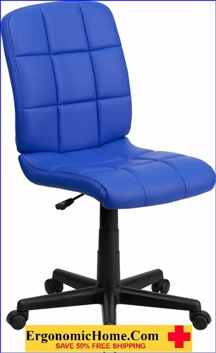 Ergonomic Home Mid-Back Blue Quilted Vinyl Swivel Task Chair EH-GO-1691-1-BLUE-GG <b><font color=green>50% Off Read More Below...</font></b>