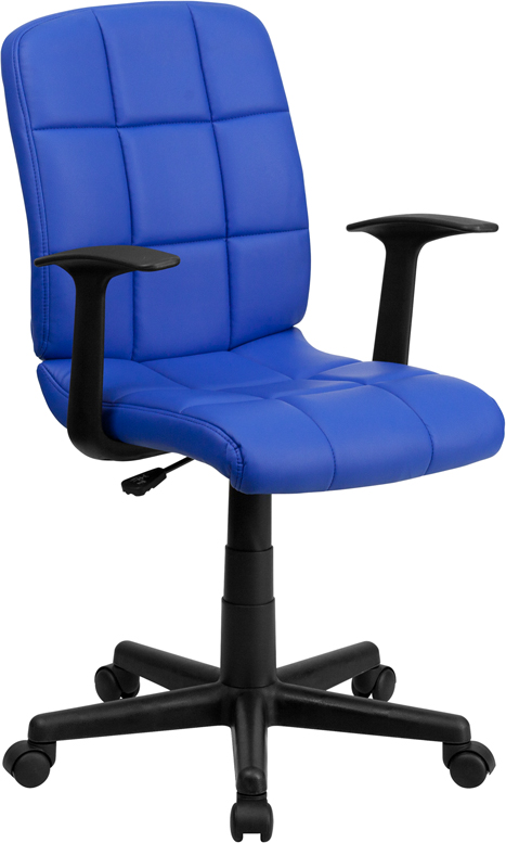 Ergonomic Home Mid-Back Blue Quilted Vinyl Swivel Task Chair with Nylon Arms EH-GO-1691-1-BLUE-A-GG <b><font color=green>50% Off Read More Below...</font></b>