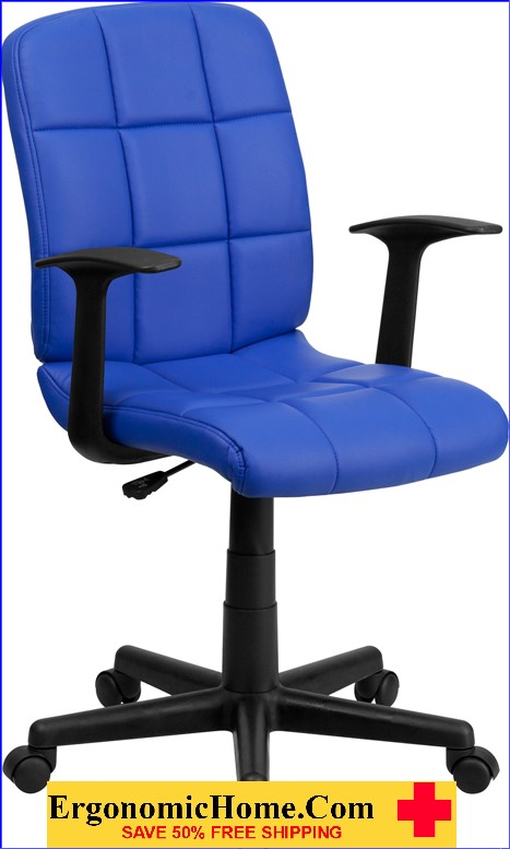 </b></font>Ergonomic Home Mid-Back Blue Quilted Vinyl Swivel Task Chair with Nylon Arms EH-GO-1691-1-BLUE-A-GG <b></font>. </b></font></b>
