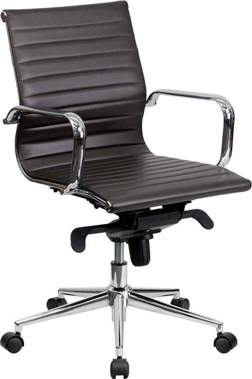 Mid-Back Brown Ribbed Upholstered Leather Swivel Conference Chair