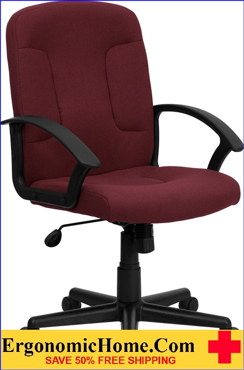 Ergonomic Home Mid-Back Burgundy Fabric Executive Swivel Office Chair with Nylon Arms <b><font color=green>50% Off Read More Below...</font></b>