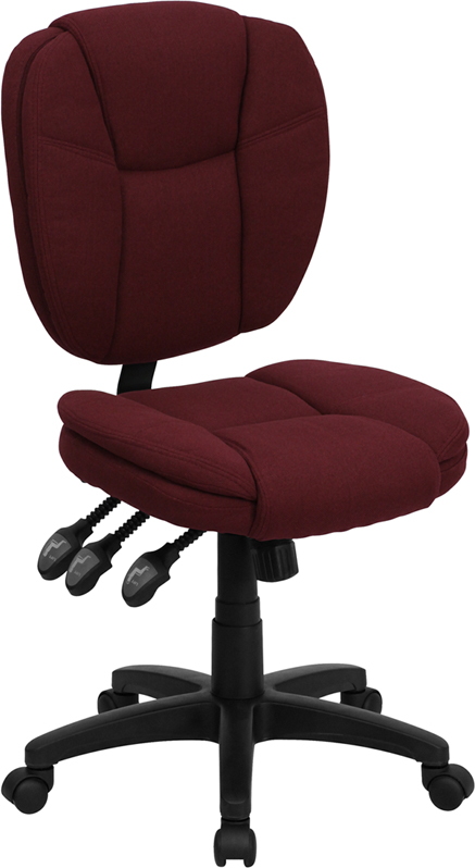 Mid-Back Burgundy Fabric Multi-Functional Ergonomic Swivel Task Chair.
