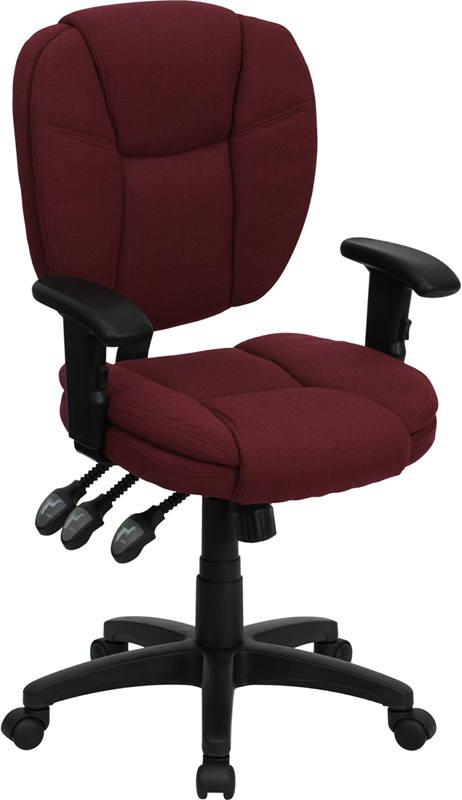 Mid-Back Burgundy Fabric Multi-Functional Ergonomic Swivel Task Chair with Height Adjustable Arms.