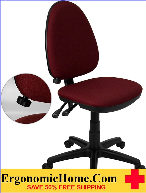 Ergonomic Home Mid-Back Burgundy Fabric Multi-Functional Swivel Task Chair with Adjustable Lumbar Support <b><font color=green>50% Off Read More Below...</font></b></font></b>