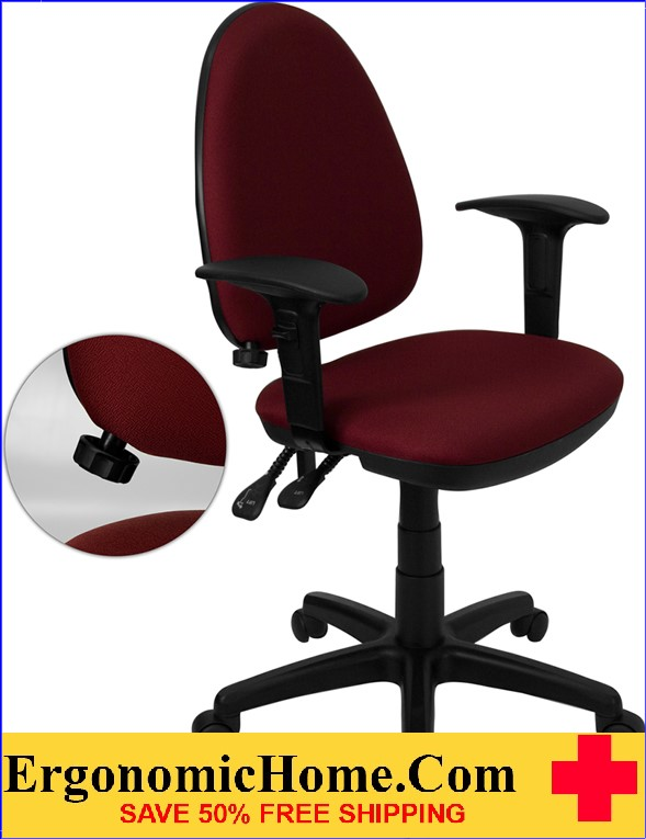 Ergonomic Home Mid-Back Burgundy Fabric Multi-Functional Swivel Task Chair with Adjustable Lumbar Support and Height Adjustable Arms <b><font color=green>50% Off Read More Below...</font></b>