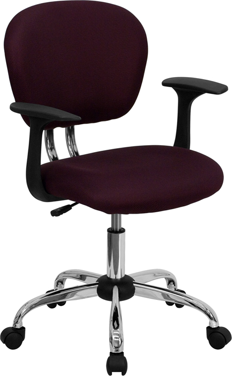 Ergonomic Home Mid-Back Burgundy Mesh Swivel Task Chair with Chrome Base and Arms EH-H-2376-F-BY-ARMS-GG <b><font color=green>50% Off Read More Below...</font></b>