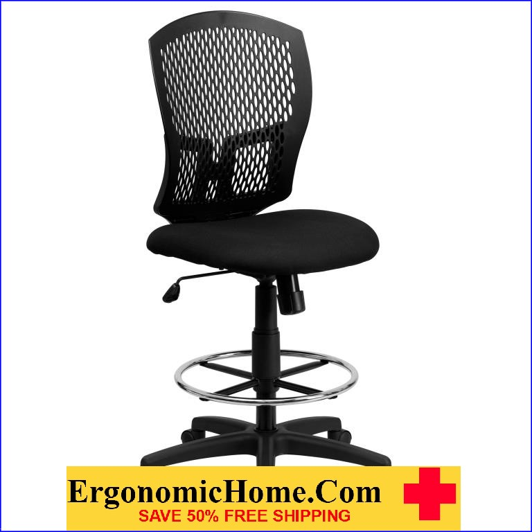 Ergonomic Home Armless Mid Back Designer Back Drafting Chair with Padded Fabric Seat EH-WL-3958SYG-BK-D-GG <b><font color=green>50% Off Read More Below...</font></b>