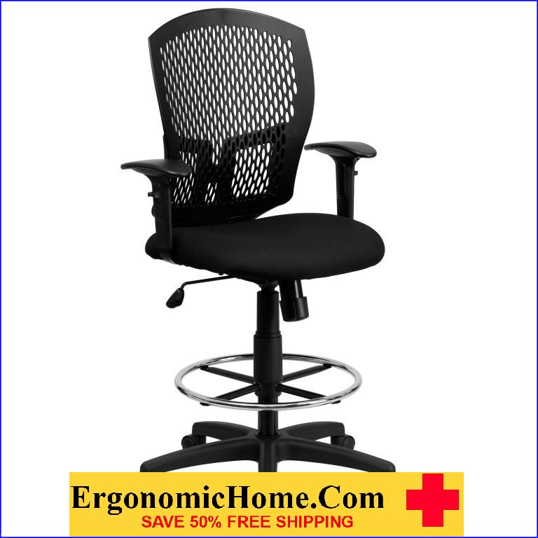 Ergonomic Home Mid Back Designer Back Drafting Chair With Padded Fabric  Seat And Height Adjustable