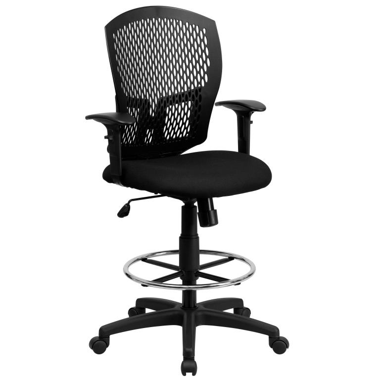 Ergonomic Home Mid-Back Designer Back Drafting Chair with Padded Fabric Seat and Height Adjustable Arms