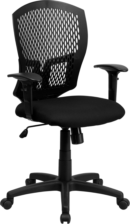 Mid-Back Designer Back Swivel Task Chair with Padded Fabric Seat and Height Adjustable Arms