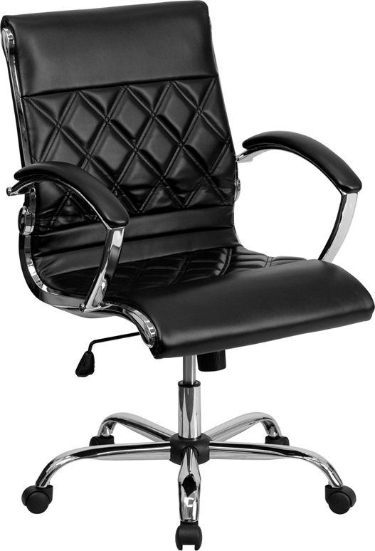 Mid-Back Designer Black Leather Executive Swivel Office Chair with Chrome Base