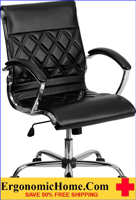 Ergonomic Home Mid-Back Designer Black Leather Executive Swivel Office Chair with Chrome Base <b><font color=green>50% Off Read More Below...</font></b>