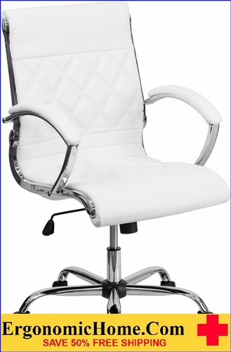 Ergonomic Home Mid-Back Designer White Leather Executive Swivel Office Chair with Chrome Base <b><font color=green>50% Off Read More Below...</font></b>
