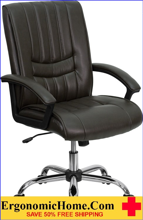Ergonomic Home Mid-Back Espresso Brown Leather Swivel Manager's Chair <b><font color=green>50% Off Read More Below...</font></b>