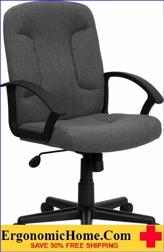 Ergonomic Home Mid-Back Gray Fabric Executive Swivel Office Chair with Nylon Arms <b><font color=green>50% Off Read More Below...</font></b>
