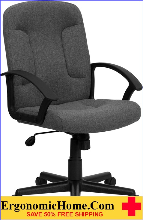 Mid-Back Gray Fabric Executive Swivel Office Chair with Nylon Arms