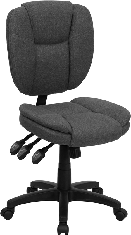 Mid-Back Gray Fabric Multi-Functional Ergonomic Swivel Task Chair.
