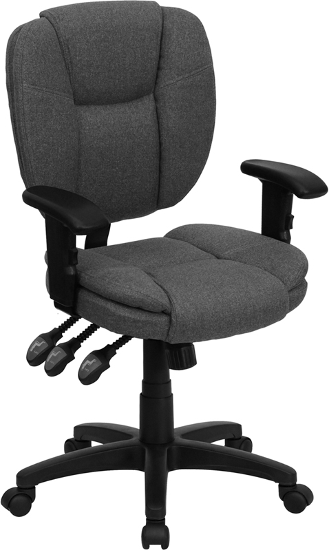 Mid-Back Gray Fabric Multi-Functional Ergonomic Swivel Task Chair with Height Adjustable Arms.