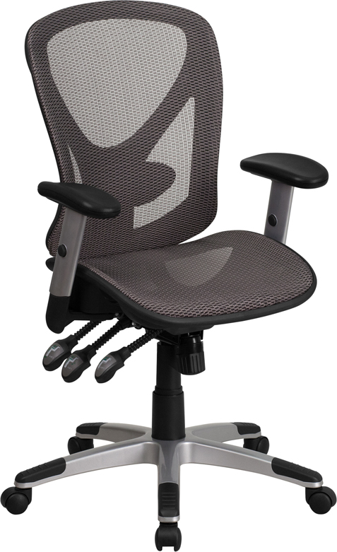 Mid-Back Gray Mesh Executive Swivel Office Chair with Mesh Seat and Back and Triple Paddle Multi-Function Control