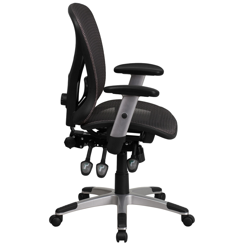 Mid Back Gray Mesh Executive Swivel Office Chair With Mesh
