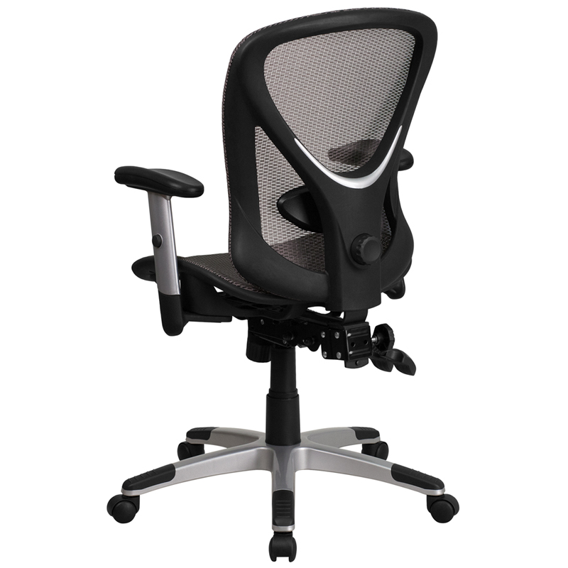 triple seated home office area. Ergonomic Home Mid-Back Gray Mesh Executive Swivel Office Chair With Seat And Back Triple Paddle Multi-Function Control EH-GO-WY-136-3-GG 50% Off Seated Area