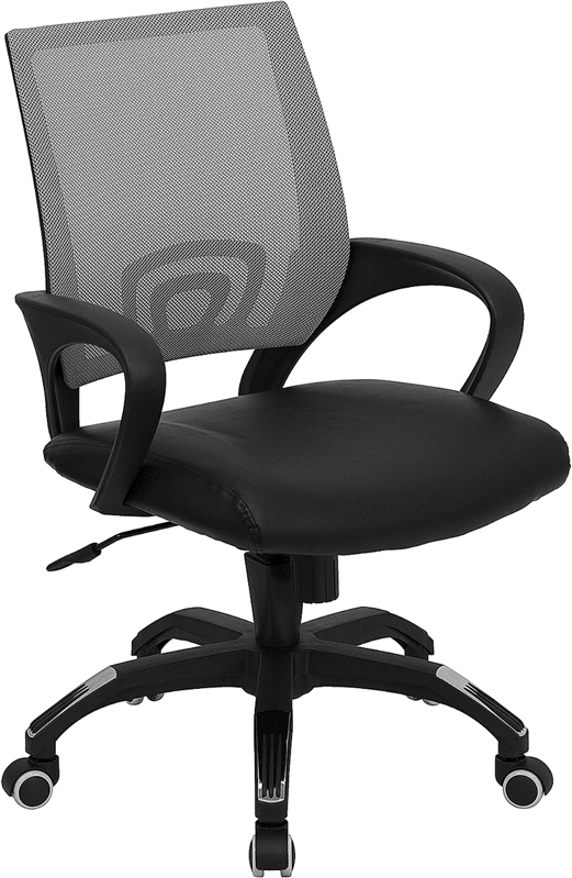 ERGONOMIC HOME Mid-Back Gray Mesh Swivel Task Chair with Black Leather Padded Seat EH-CP-B176A01-GRAY-GG <b><font color=green>50% Off Read More Below...</font></b>