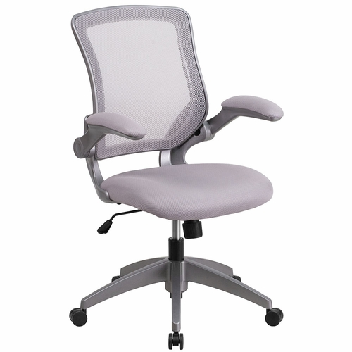 Mid-Back Gray Mesh Swivel Task Chair with Gray Frame and Flip-Up Arms. <font color=#c60>Read More...</font>