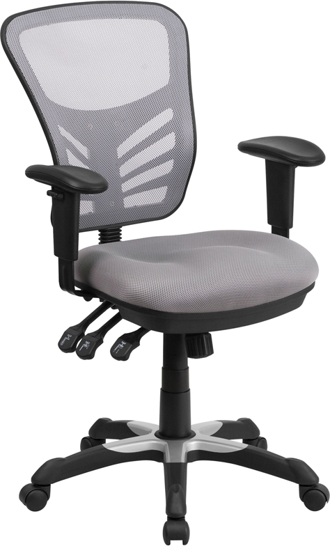 Mid-Back Gray Mesh Swivel Task Chair with Triple Paddle Control