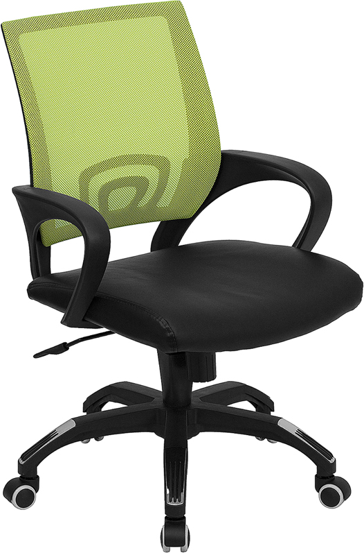 Mid-Back Green Mesh Swivel Task Chair with Black Leather Padded Seat