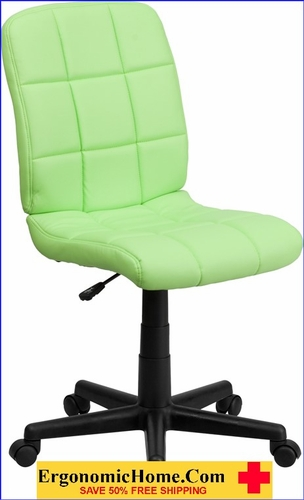Ergonomic Home Mid-Back Green Quilted Vinyl Swivel Task Chair EH-GO-1691-1-GREEN-GG <b><font color=green>50% Off Read More Below...</font></b>