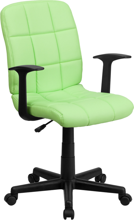 Mid-Back Green Quilted Vinyl Swivel Task Chair with Nylon Arms