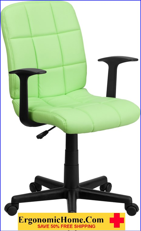 </b></font>Ergonomic Home Mid-Back Green Quilted Vinyl Swivel Task Chair with Nylon Arms EH-GO-1691-1-GREEN-A-GG <b></font>. </b></font></b>