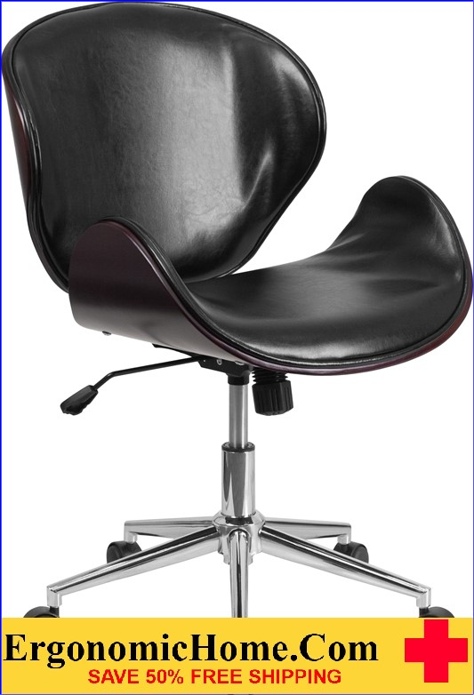 Ergonomic Home Mid-Back Mahogany Wood Swivel Conference Chair in Black Leather <b><font color=green>50% Off Read More Below...</font></b>