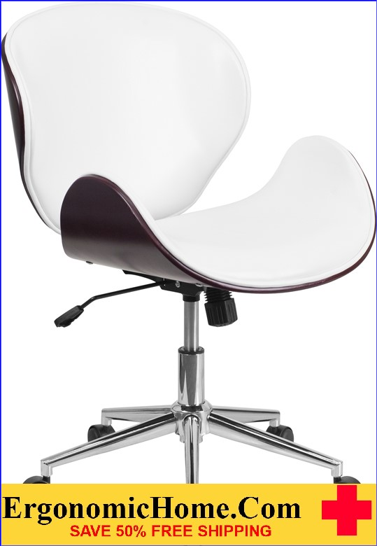 Ergonomic Home Mid-Back Mahogany Wood Swivel Conference Chair in White Leather <b><font color=green>50% Off Read More Below...</font></b>