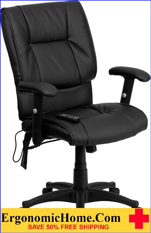 Ergonomic Home Mid-Back Massaging Black Leather Executive Swivel Office Chair <b><font color=green>50% Off Read More Below...</font></b>