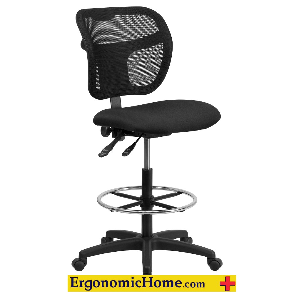 Armless Mesh Drafting Chair with Black Fabric Seat