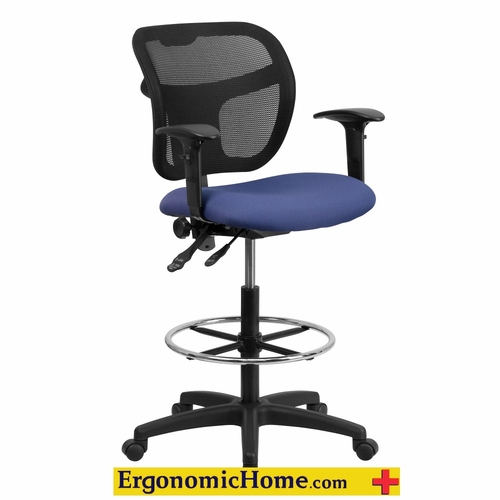 Ergonomic Home Mid-Back Mesh Drafting Chair with Navy Blue Fabric Seat EH-WL-A7671SYG-NVY-AD-GG .