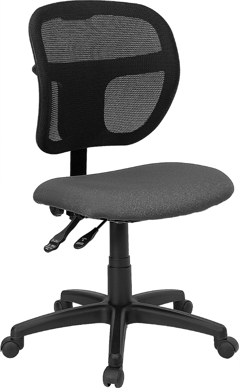 Mid-Back Mesh Swivel Task Chair with Gray Fabric Padded Seat